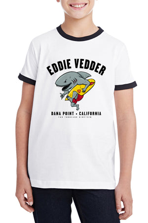Eddie Vedder Shark Shredder Kids Ringer Tee Black
