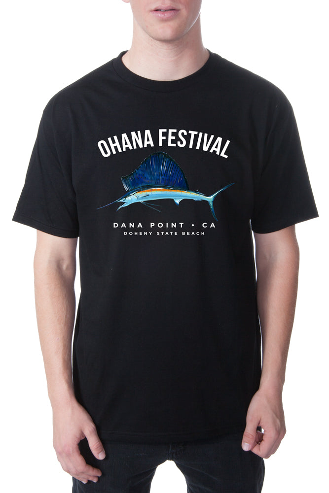 Ohana Festival Painted Marlin Tee Black