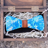 Shades of Blue Marbled Scallop Shell Bow Tie, Stedbee