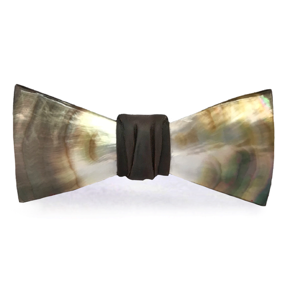 Natural Mother of Pearl Shell Bow Tie, Brown, Stedbee