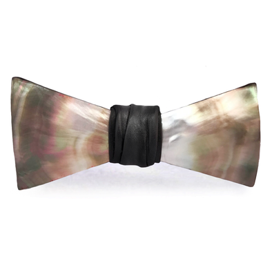 Black Mother of Pearl Bow Tie, Black, Stedbee