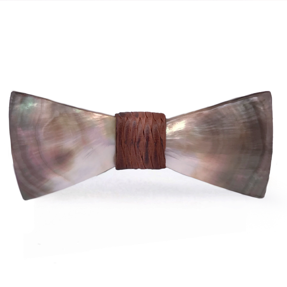 Mother of Pearl Shell Bow Tie, Brown Woven Knot, Stedbee