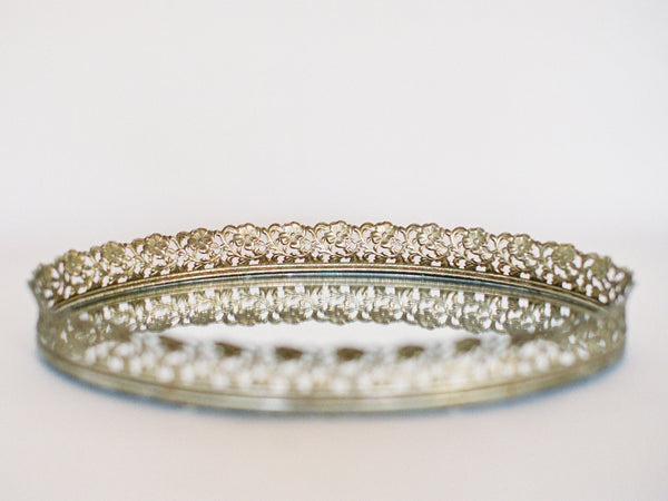 "Antique Brass 13"" Mirrored Tray with Lace Edge"