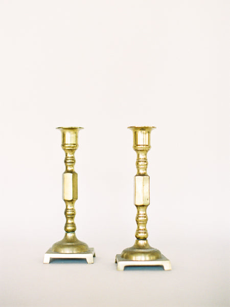 "Pair of 7"" Brass Footed Candlesticks"