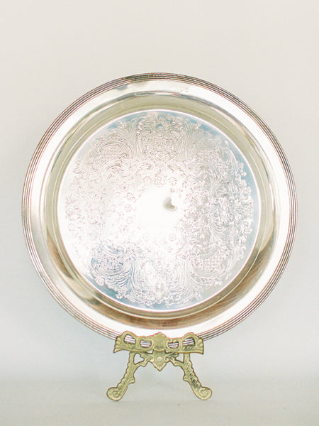 "Antique Silver 12"" Round Tray with Smooth Edge"
