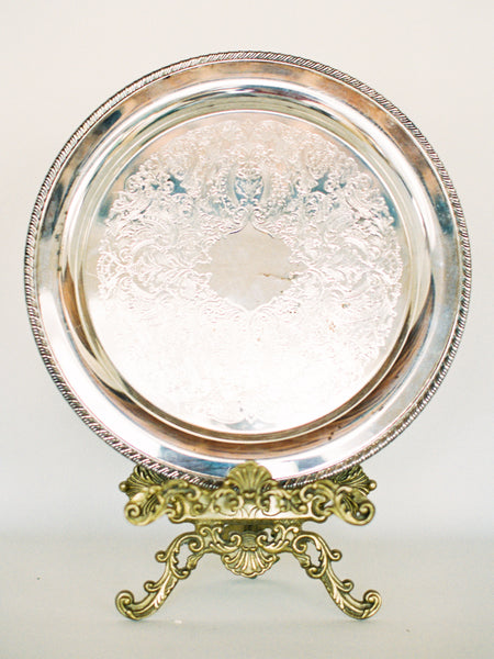 "15"" Antique Silver Round Tray with Floral Details"