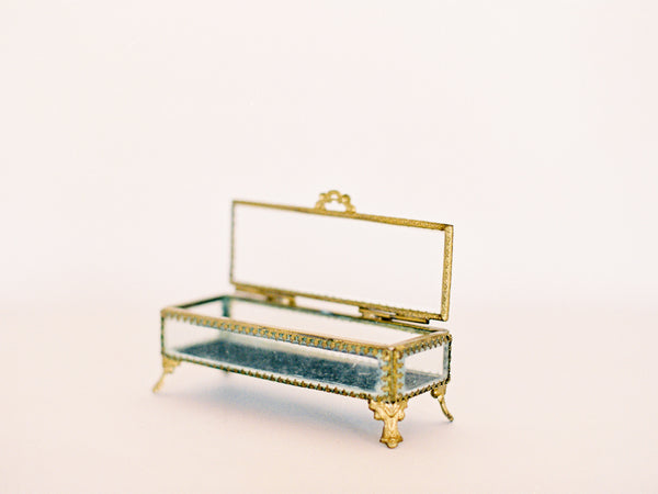 Antique Victorian Rectangular Glass Ring & Jewelry Box