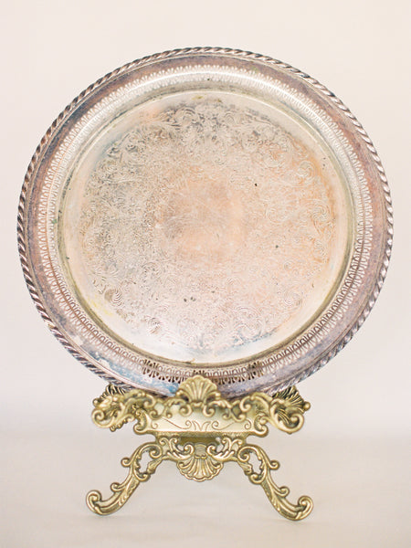 "15"" Antique Silver Round Tray with Lace Edge"