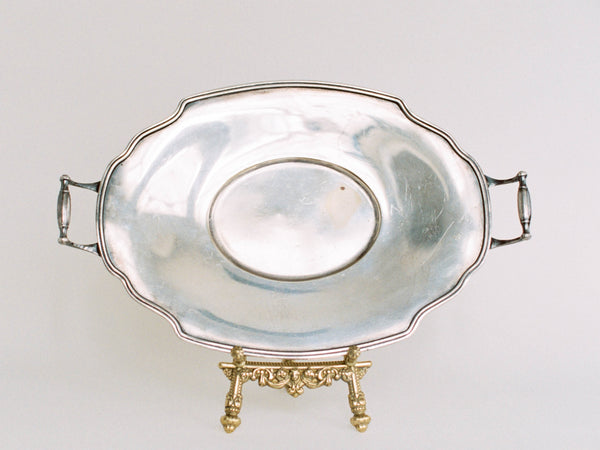 "14"" Antique Oval Silver Tray with Delicate Handles"