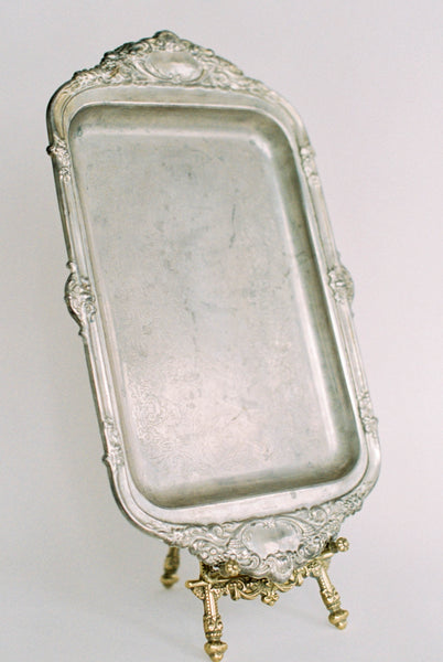 "15"" Antique Rectangular Silver Tray with Ornate Border"