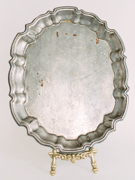 "14.5"" Antique Silver Tray with Scalloped Rectangular Border"