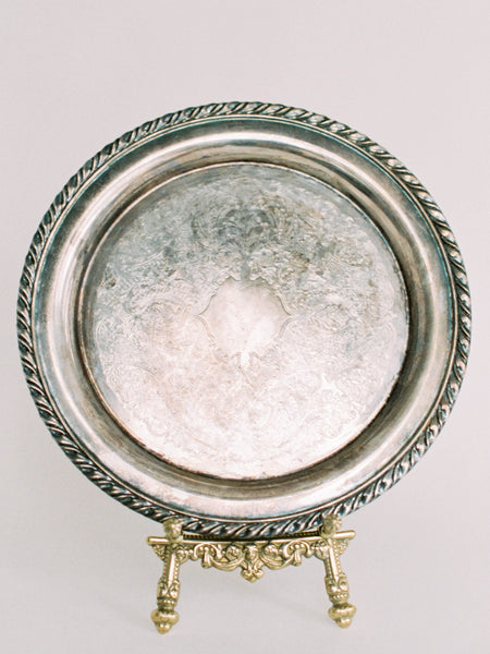 "10"" Antique Silver Platter with Flourishes"