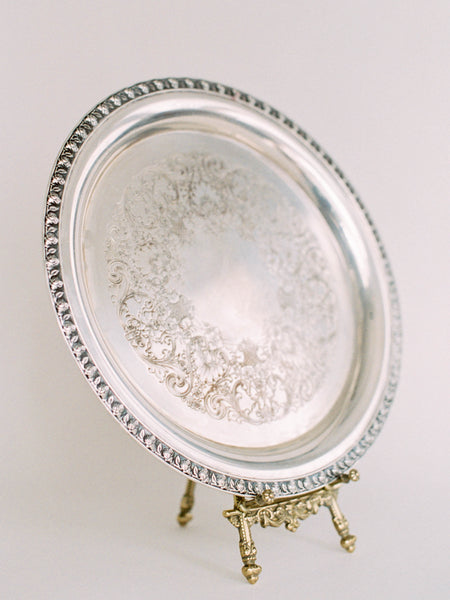 "13"" Antique Round Tray with Rosette Edge"