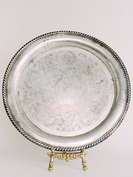 "15"" Large Antique Round Tray with Coil Edge"