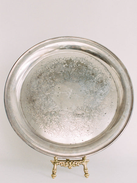 "16"" Large Antique Silver Tray with Smooth Edge"