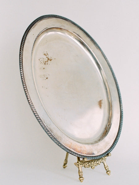 "18"" Large Antique Oval Silver Tray"