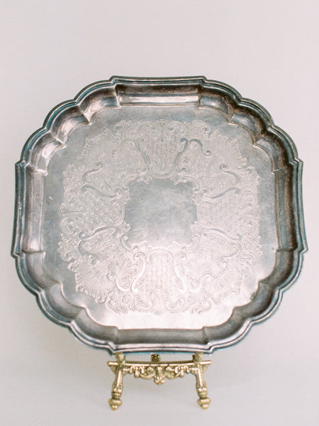 "14"" Antique Silver Square Tray with Scalloped Edge"