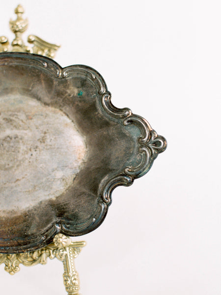 "9"" Antique Silver Baroque Oval Dish"