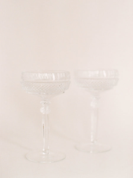 Pair - Cake Cutting Crystal Champagne Coupes