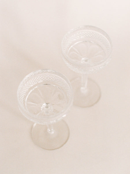 Pair of Antique Crystal Champagne Coupes
