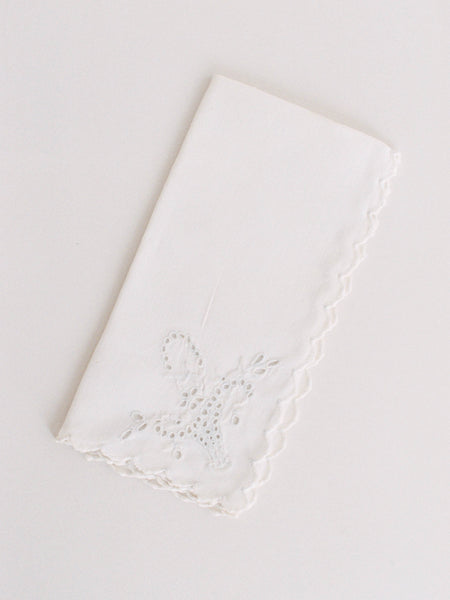 Linen Bridal Handkerchief with Floral Basket Embroidery