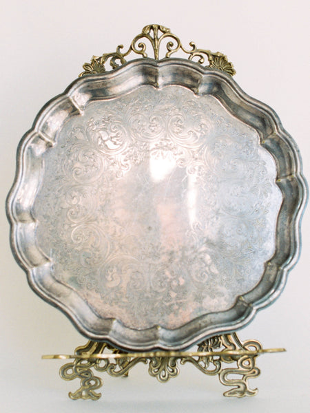 "15"" Antique Silver Florentine Footed Tray"