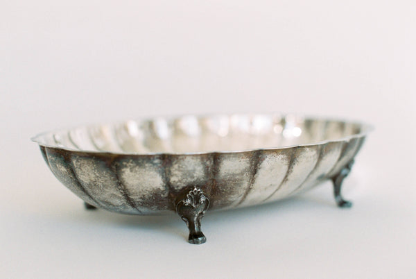 "11.5"" Antique Silver English Shell Footed Oval Bowl"