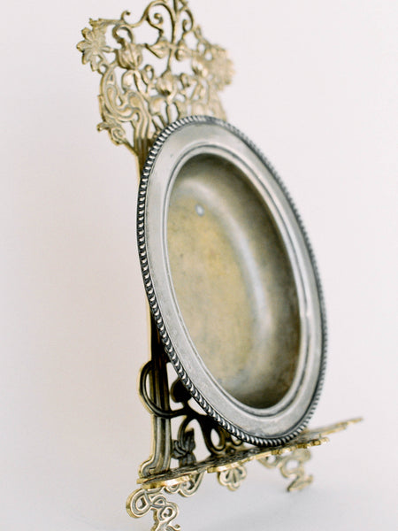 "11"" Antique Silver Dish with Beaded Edge"