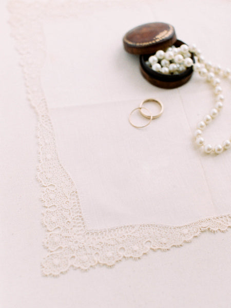 Antique First Look Handkerchief with Intricate Lace Border