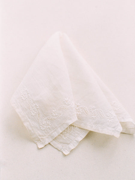 1920's Linen Bridal Handkerchief with Floral Ribbon Hemstitch