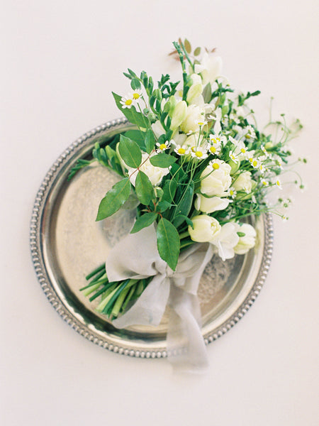 "12"" Silver Round Platter with Floral Engraving"