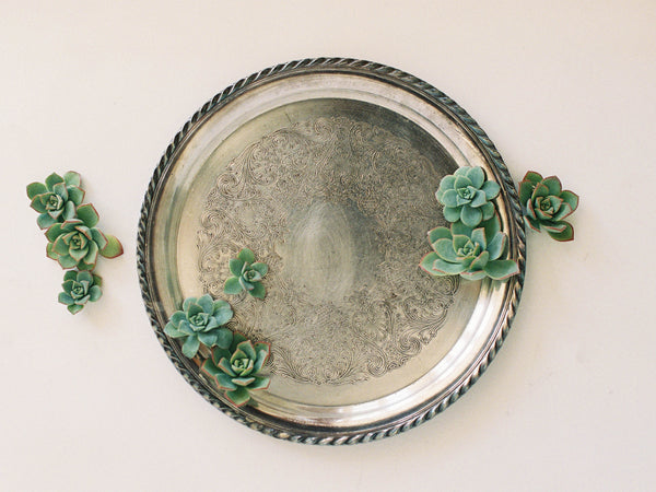 "12"" Large Round Platter with Floral Basket Engraving"