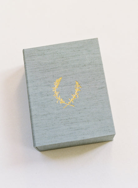 French Blue 150-Print Linen Print Box with 24k Gold Lavender Crest Stamp