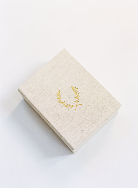 SALE - 150-Print Linen Print Box with 24k Gold Lavender Crest Stamp