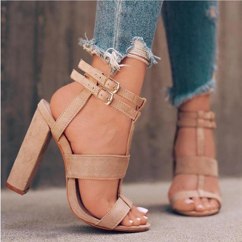 Sandals Square Heel Women Shoe