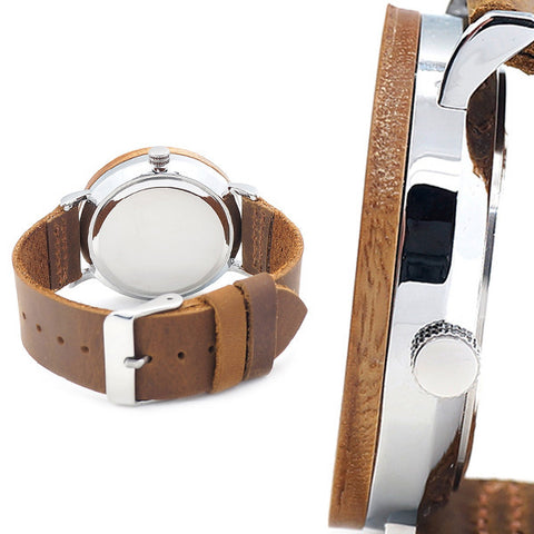 Genuine Leather Band Wooden Watch