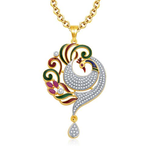Peafowl Gold And Rhodium Plated Ruby Pendant Set
