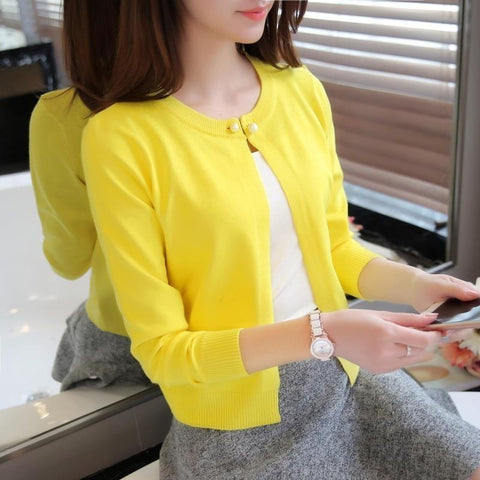 Female Single Button Long Sleeve Sweater