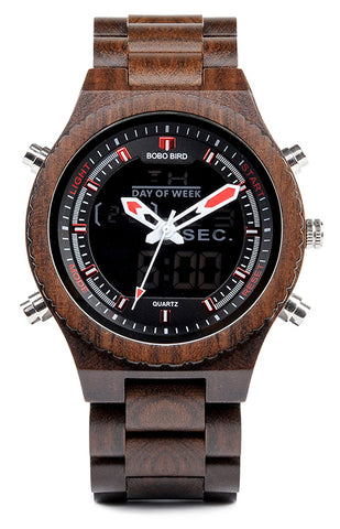 Sports LED Wooden Watch
