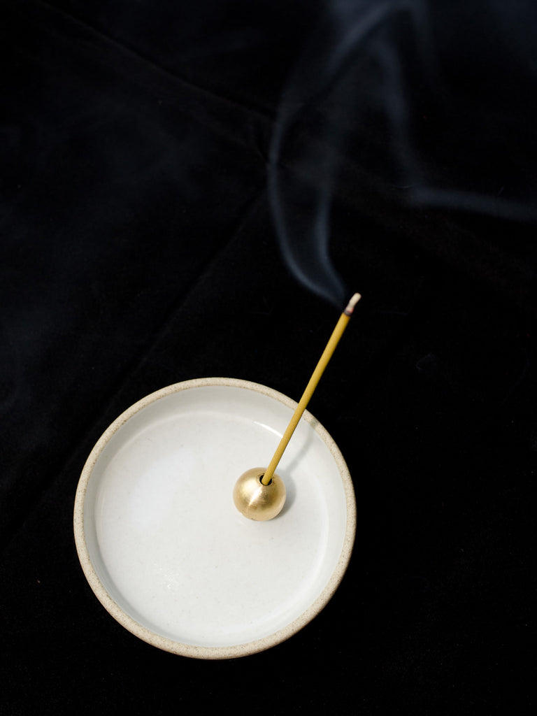 solid brass ball incense holder stand with sandalwood incense