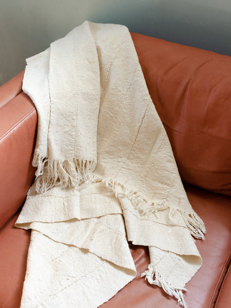 White Mudcloth Throw