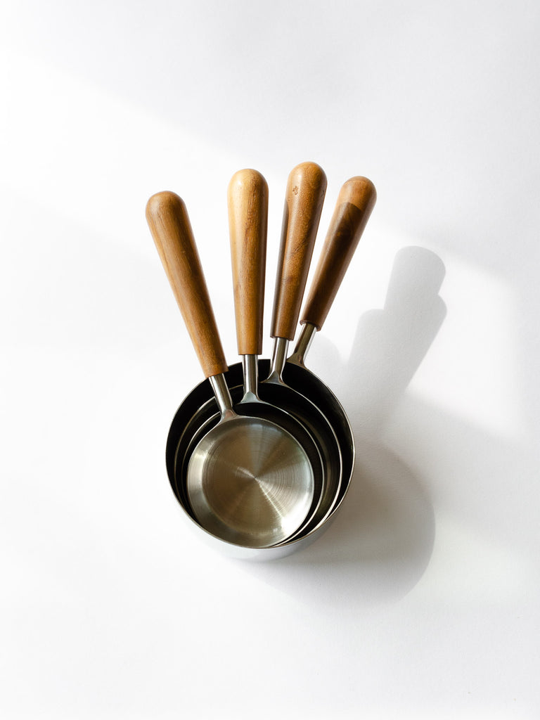 Teak & Stainless Measuring Cups