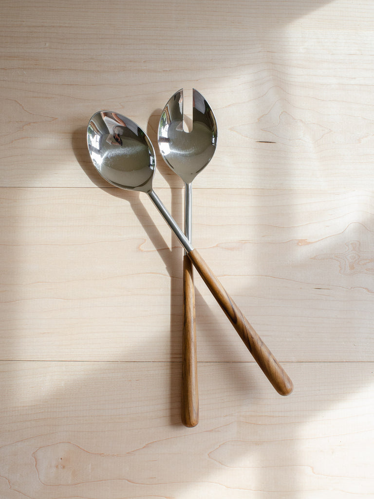 Teak & Stainless Serving Set