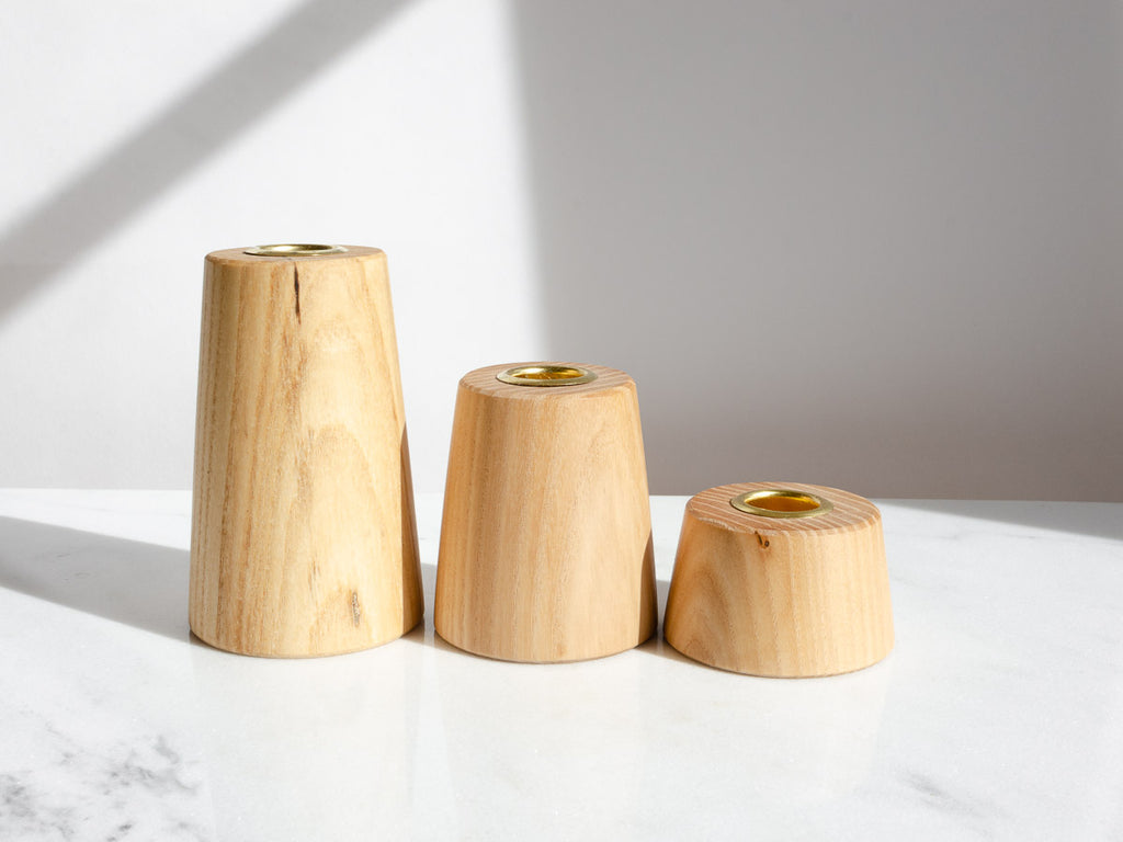 White Oak Candle Holders