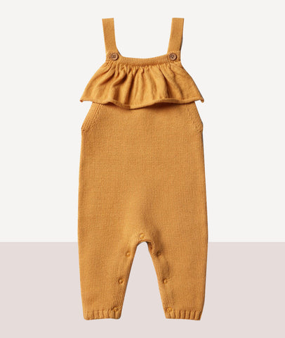Knitted Ruffle Overall / Golden Apricot / Wilson & Frenchy
