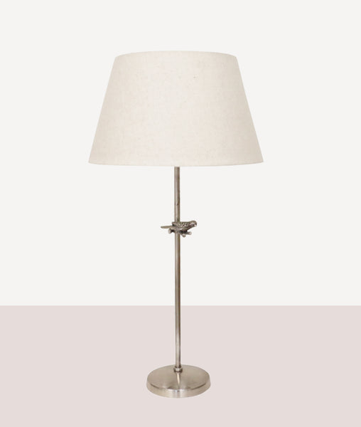 Bird Lamp / Pewter w/Oatmeal Shade
