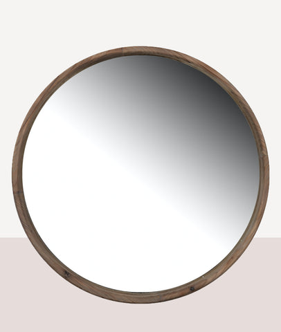 Blair Round Wooden Wall Mirror