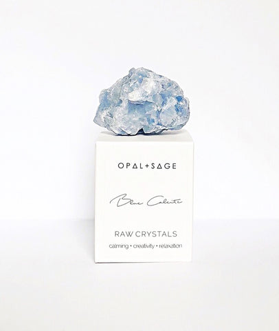 Blue Calcite Crystal / Opal & Sage