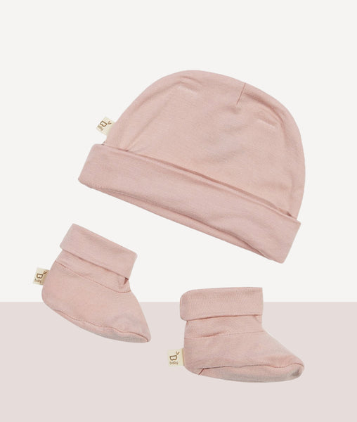 Baby Beanie & Bootie Set / Rose / Boody Baby