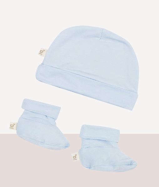 Baby Beanie & Bootie Set / Sky / Boody Baby